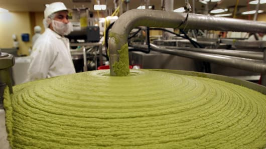 Calavo in Santa Paula is working overtime to process guacamole to fill orders for the Super Bowl on Sunday.