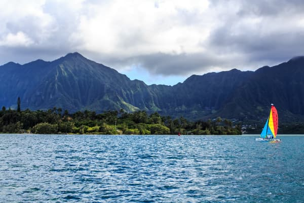 Kaneohe Bay and the Ko'olau Mountain Range.