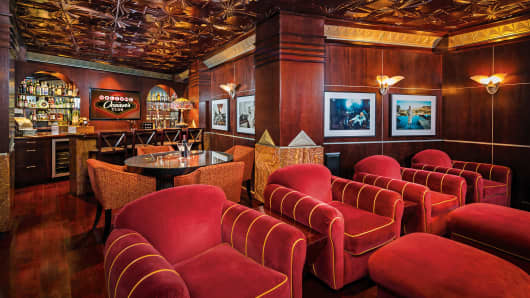 The bar area is an homage to the 'Oceans 11' movie.