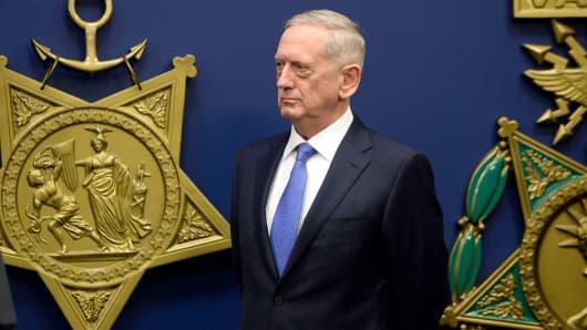 General James Mattis, U.S. secretary of defense, stands before being sworn in at the Department of Defense in Arlington, Virginia, on Friday, Jan. 27, 2017.