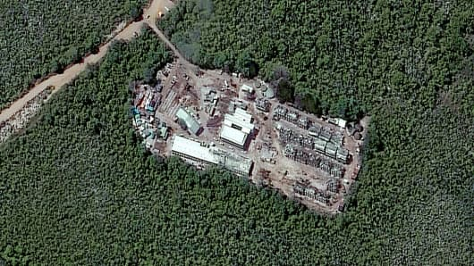 A closeup satellite image of the Topside detention camp in Nauru.