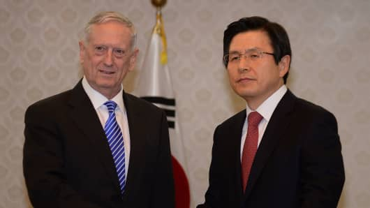 South Korea's acting President Hwang Kyo-ahn with US Defense Secretary James Mattis in Seoul on February 2, 2017