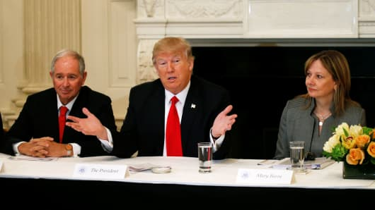 Flanked by Blackstone CEO Stephen Schwarzman (L) and General Motors CEO Mary Barra (R), U.S. President Donald Trump holds a strategy and policy forum with chief executives of major U.S. companies at the White House in Washington February 3, 2017.