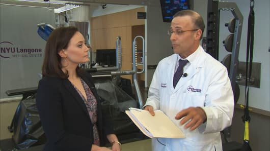 Dr. Dennis Cardone speaking with CNBC's Meg Tirrell to review her test results.