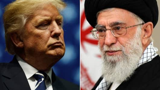 President Donald Trump (l) and Iran's religious leader Ayatollah Ali Khamenei (r).