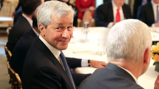 JPMorgan Chase CEO Jamie Dimon attends a policy forum with President Donald Trump in the State Dining Room at the White House, Feb. 3, 2017, in Washington.