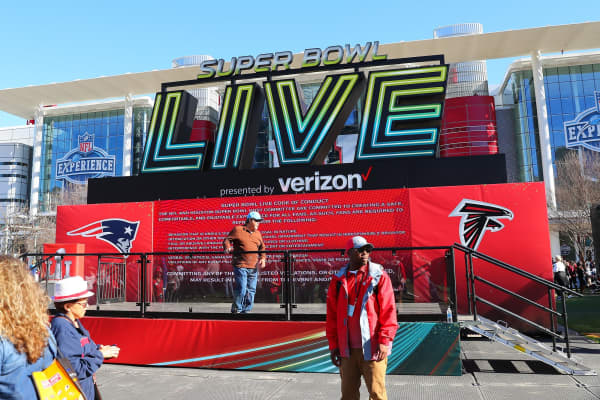 Super Bowl Live presented by Verizon platform inside the NFL Experience at the George R. Brown Convention Center.