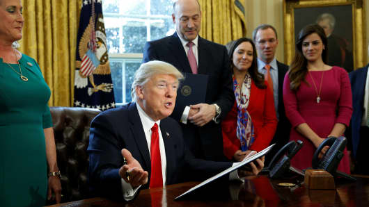 President Donald Trump speaks before signing an executive order rolling back regulations from the 2010 Dodd-Frank law on Wall Street reform at the White House in Washington February 3, 2017.