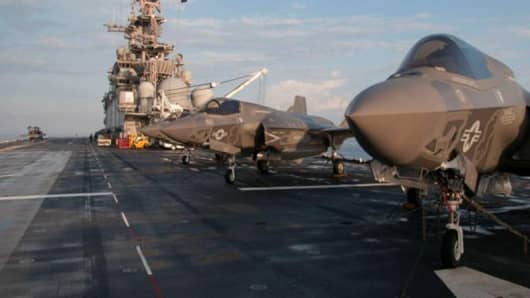 F-35 Bravo Lightning II stand ready on the deck of amphibious assault ship USS Wasp for day two of the first phase operational testing in the Atlantic Ocean in this handout photo taken May 19, 2015 and provided by the U.S. Navy.