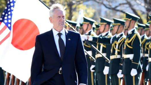 U.S. Defence Secretary Jim Mattis reviews an honor guard during a welcoming ceremony at the Defence Ministry in Tokyo on February 4, 2017.