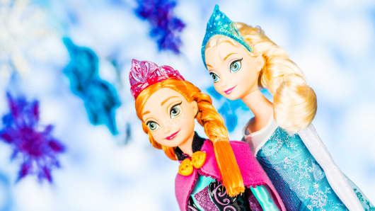 Disney character doll sisters, Elsa and Anna of Arendelle, from the Disney movie Frozen.