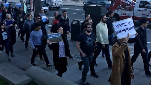 More than a thousand Google employees marched in protest on Jan. 30, 2017, against the Trump administration's immigration ban.