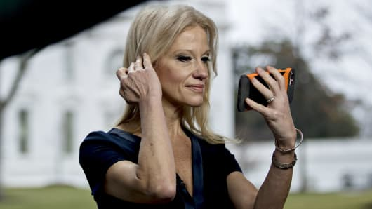 Kellyanne Conway, senior advisor to U.S. President Donald Trump, prepares for a television interview outside the White House in Washington, D.C.