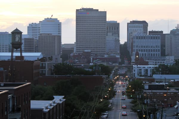 A view of E. Main St. and downtown Richmond.