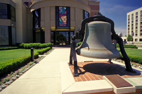 Bell Outside Van Andel Museum in Grand Rapids, Michigan.