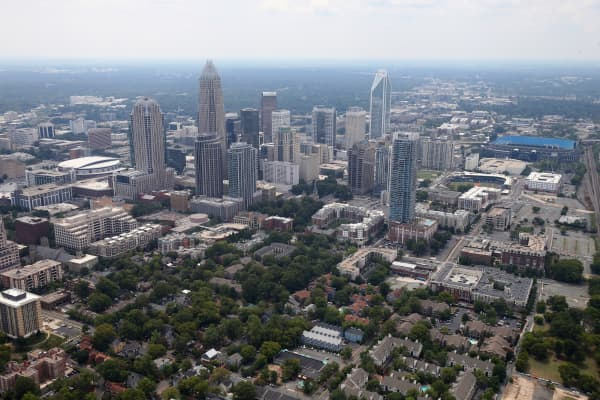 An aerial view of Uptown Charlotte North Carolina.