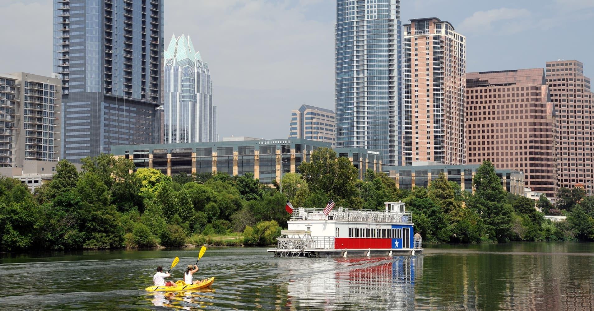 Kayaking in Austin, Texas.