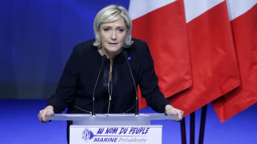 President of French far-right Front National (FN) party Marine Le Pen delivers a speech during a major rally to launch her presidential programme on February 5, 2017 in Lyon, France. Marine Le Pen is candidate for the Presidential elections in France this year.
