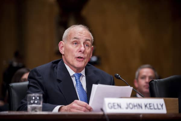 General John Kelly, nominee for Department of Homeland Security secretary for President-elect Donald Trump, testifies during a confirmation hearing before the Senate Homeland Security and Governmental Affairs Committee in Washington, D.C., U.S., on Tuesday, Jan. 10, 2017.