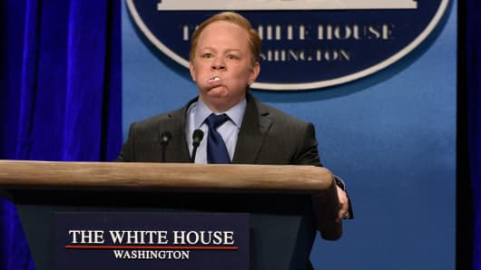 Melissa McCarthy as Press Secretary Sean Spicer during the 'Sean Spicer Press Conference' sketch on February 4th, 2017.