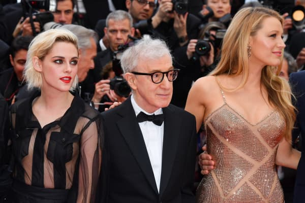 Kristen Stewart, Woody Allen and Blake Lively attends the screening of 'Cafe Society' at the opening gala of the annual 69th Cannes Film Festival.