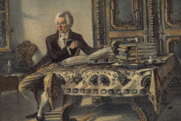 Portrait of Wolfgang Amadeus Mozart, Austrian composer, in his studio in Kahlenberg.
