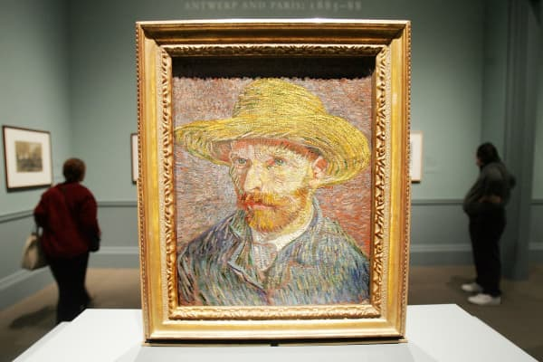 "Vincent van Gogh's painting ""Self Portrait with a Straw Hat"" is displayed at the Metropolitan Museum of Art in 2005."