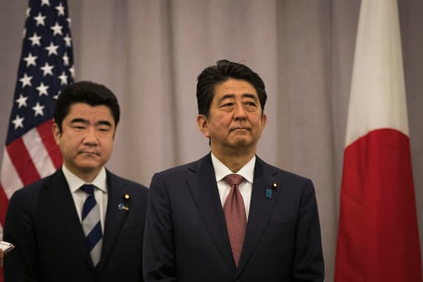 Prime Minister of Japan Shinzo Abe speaks to reporters following a meeting with President-elect Donald Trump November 17, 2016 in New York City.