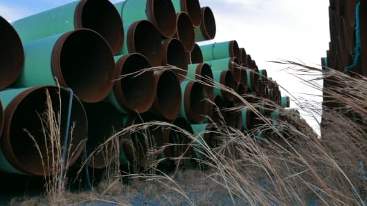 Unused pipes for the Keystone XL pipeline in Little Rock, Ark.