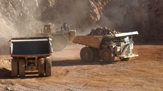 Trucks at work in the copper mine 'La Escondida' in Chile