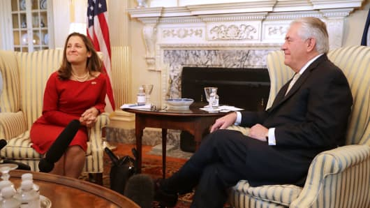 .S. Secretary of State Rex Tillerson (R) pose for photographs with Canadian Minister of Foreign Affairs Chrystia Freeland before meeting at the State Department February 8, 2017 in Washington, DC.