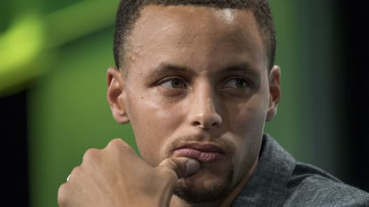 Stephen Curry, a professional basketball player with the National Basketball Association's (NBA) Golden State Warriors, attends a conference on Sept. 13, 2016.