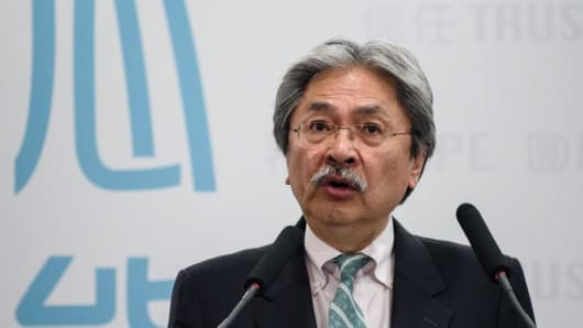 Former financial secretary John Tsang speaks at a press conference held to announce his election platform in Hong Kong on February 6, 2017