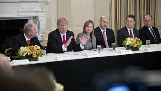 President Donald Trump with business leaders at a Strategic and Policy Forum meeting at the White House in Washington, D.C., on Feb. 3, 2017.