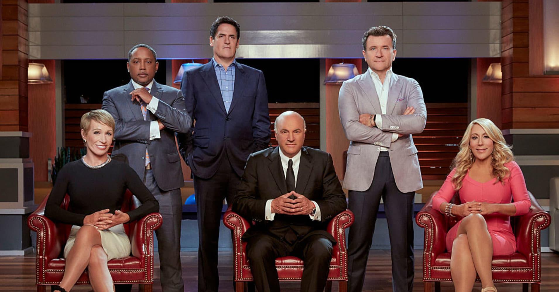 The Sharks of season eight:  Barbara Corcoran, Daymond John, Mark Cuban, Kevin O'Leary, Robert Herjavec and Lori Greiner.