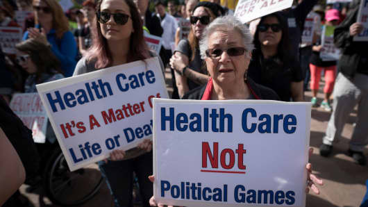 Participants in the Medicare for All Rally in Los Angeles California on February 4, 2017.