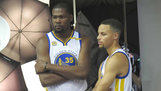 Kevin Durant and Steph Curry at media day.