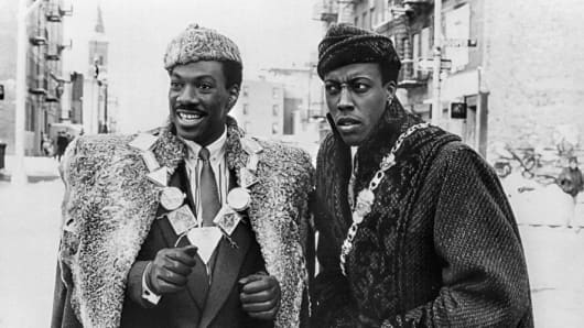 'Coming to America' starring Eddie Murphy and Arsenio Hall, Queens, New York, 1988