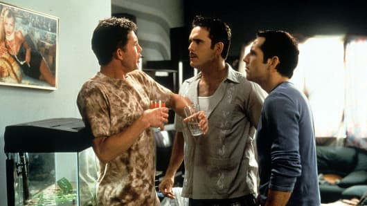 Lee Evans, Matt Dillon and Ben Stiller in a scene from the film 'There's Something About Mary', 1996.