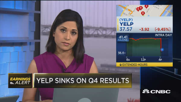 Yelp sinks on Q4 results