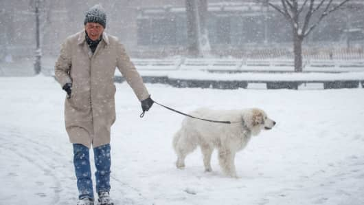 A man walks his dog in the snow in Washington Square Park, February 9, 2017 in New York City.