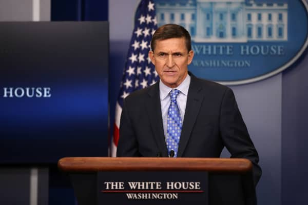 National security adviser General Michael Flynn delivers a statement daily briefing at the White House in Washington U.S., February 1, 2017.