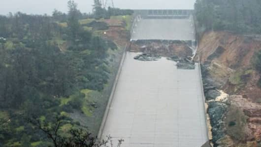 Damaged section of the concrete spillway at the California's Oroville Dam, as seen on Feb. 9, 2017