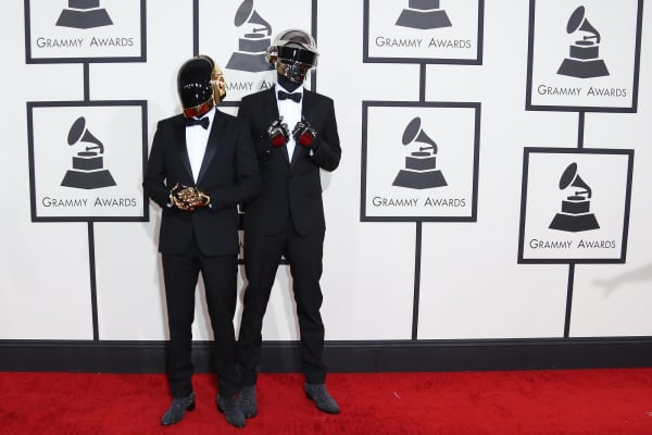 Thomas Bangalter and Guy-Manuel de Homem-Christo of 'Daft Punk' arrive at the 56th Annual Grammy Awards.