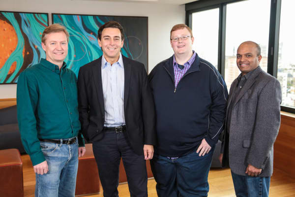 Peter Rander, Argo AI COO; Mark Fields, former Ford CEO; Bryan Salesky, Argo AI CEO; and Raj Nair, Ford executive vice president, Product Development. Salesky and Rander are alumni of Carnegie Mellon National Robotics Engineering Center and former leaders on the self-driving car teams of Google and Uber, respectively.