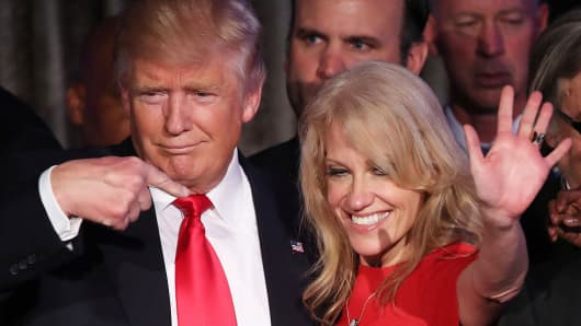 US President Donald Trump with his Counselor Kellyanne Conway