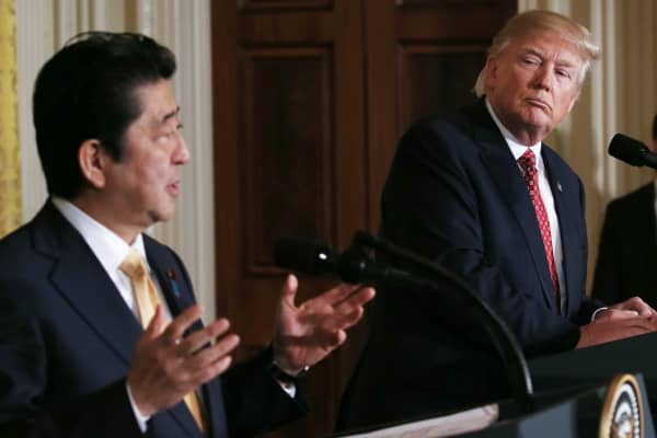 President Donald Trump and Japanese Prime Minister Shinzo Abe at the White House on February 10, 2017 in Washington, DC.