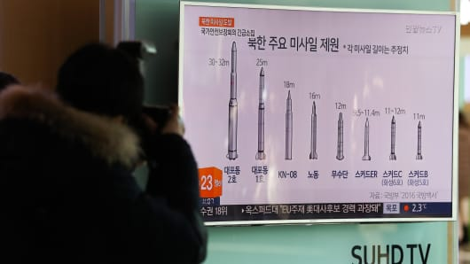 A member of media takes a photograph of a television screen showing a news broadcast on North Korea's unidentified ballistic missile launch at Seoul Station in Seoul, South Korea, on Sunday, Feb. 12, 2017.