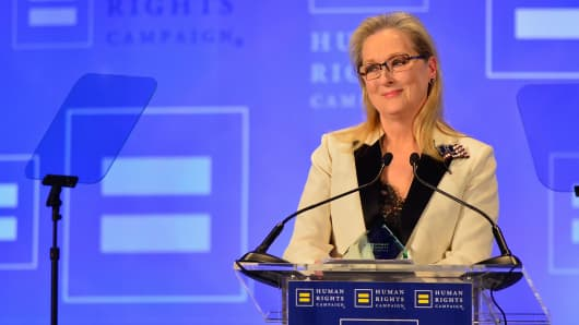 Honoree Meryl Streep speaks onstage during the 2017 Human Rights Campaign Greater New York Gala at Waldorf Astoria Hotel on February 11, 2017