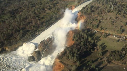 A damaged spillway with eroded hillside is seen in an aerial photo taken over the Oroville Dam in Oroville, California, U.S.
